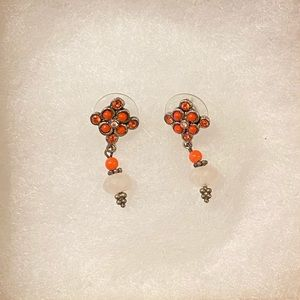 R.J. Graziano Coral Rhinestone Drop Earrings